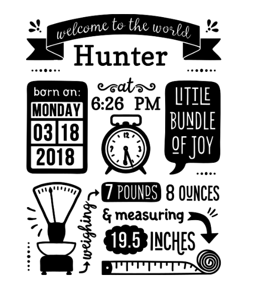Personalized birth stats decal